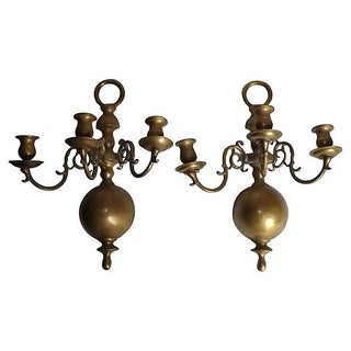 Federal Period Brass Wall Sconces - A Pair
