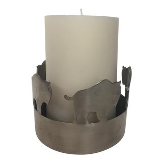 Buffalo Metal Candle Holder with Crate & Barrel Ivory Candle