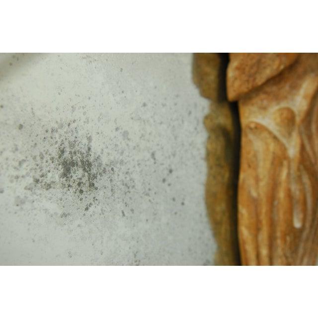 Monumental Hand-Carved Laurel Leaf Wood Mirror - Image 4 of 6