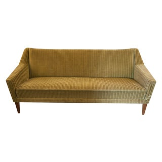Mid-Century Striped Green Velvet Sofa