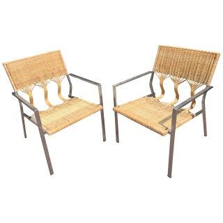 Organic Modern Rattan Armchairs - A Pair