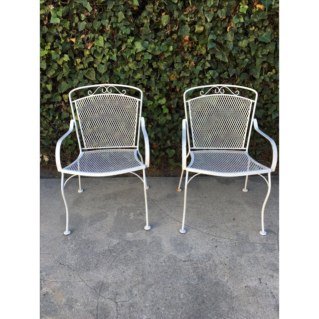 White Outdoor Patio Chairs - A Pair - Image 2 of 4