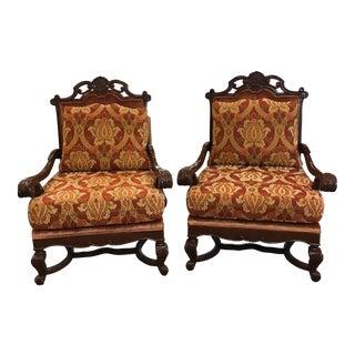 Wood Framed Velour Armchairs - A Pair