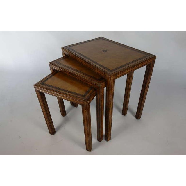 Leather Nesting Tables ~ Maitland smith leather nesting tables set of chairish