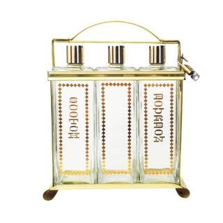 Mid-Century Brass Locking Decanter Set
