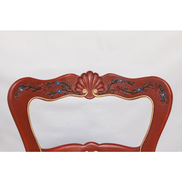 Carved French Country Red Bar Stools - A Pair - Image 7 of 10