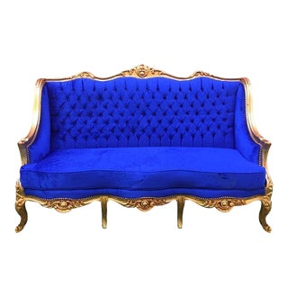Louis XVI Style Blue Settee