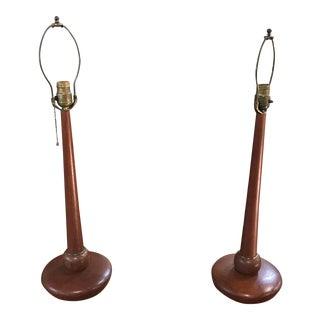 Danish Teak Wood Lamps - A Pair