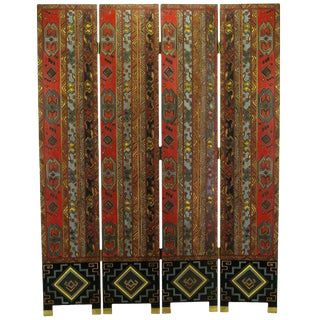 Colorful Carved & Parcel Gilt Art Deco Style Four-Panel Screen