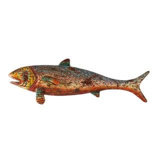 Vintage Painted Wood Fish
