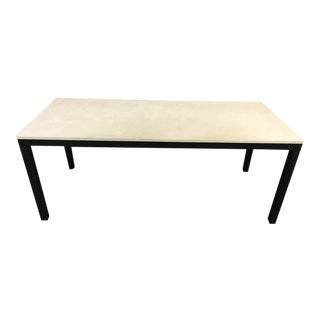 White Cast Stone & Metal Dining Table