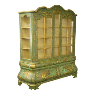Italian Hand Painted Large Bombe Bookcase Breakfront