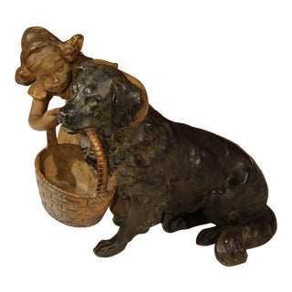 19th Century French Girl & Dog Terracotta Sculpture