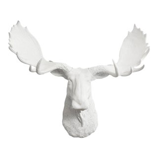 White Faux Moose Head Wall Bust