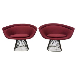 Warren Platner for Knoll Bronze Lounge Chairs - a Pair