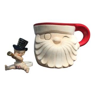 Holt Howard Holiday Ceramics Mug & Candle Hugger - a Pair