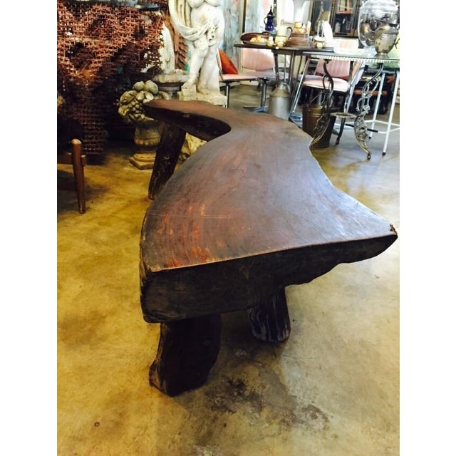 Organic Natural Iron Wood Curved Rustic Bench - Image 2 of 11