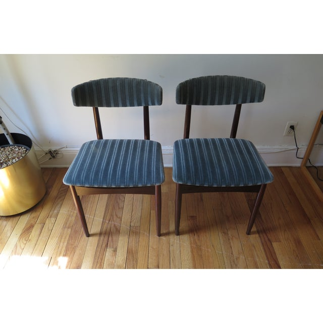 Mid-Century Teal Upholstered Chairs - A Pair - Image 2 of 5