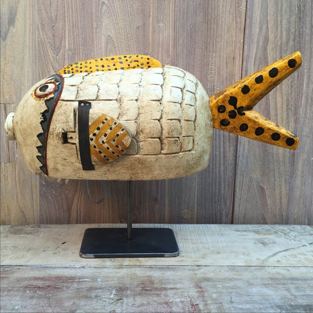 Vintage Fish Puppet on Iron Stand - Image 5 of 6