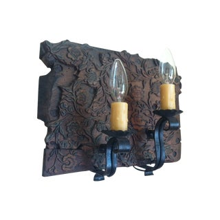 19th Century Wooden Stamp Block Custom Sconce