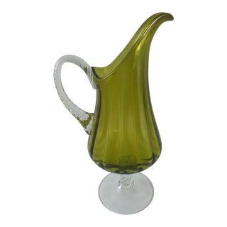 Mid-Century Italian Empoli Glass Footed Olive Ewer