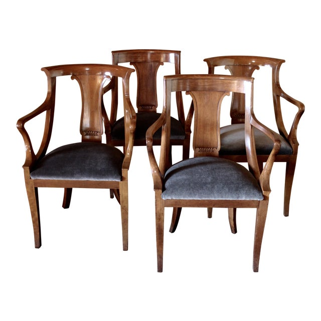 "Empire ""Chaise en Gondole"" Fruitwood Baker Dining Chairs - Set of Four - Image 1 of 8"