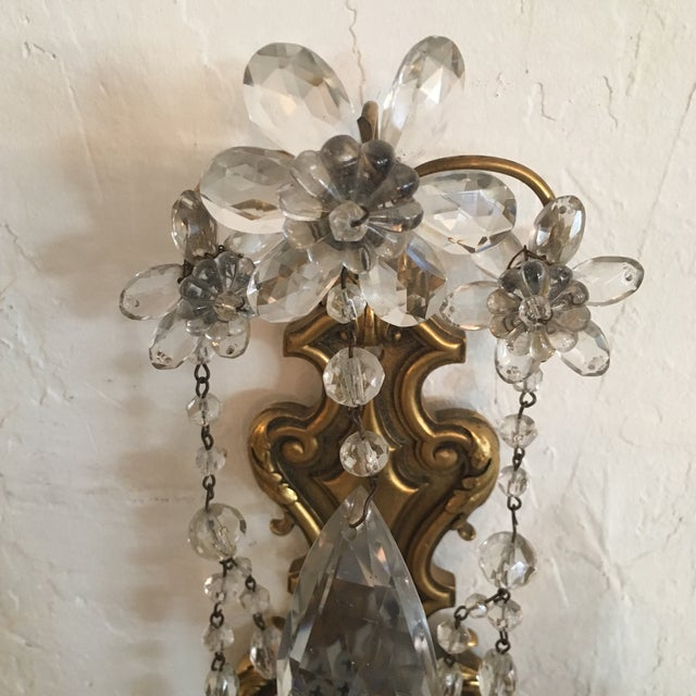 Bronze and Crystal Sconces - A Pair - Image 3 of 6