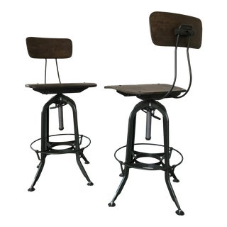 Vintage Restoration Hardware Toledo Bar Stools - A Pair