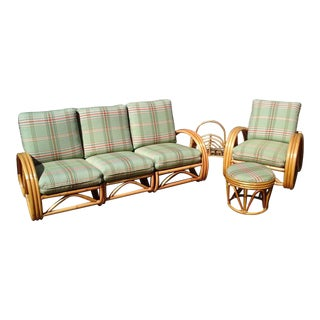 Mid-Century Vintage Paul Frankl Style Rattan Sectional, Adjustable Chair & Ottoman