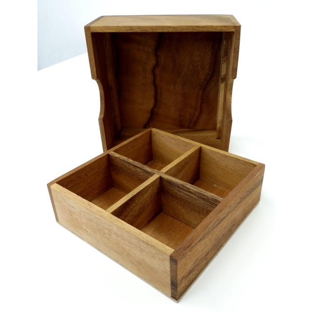 Handmade Sectioned Wood Box with Lid - Image 4 of 6