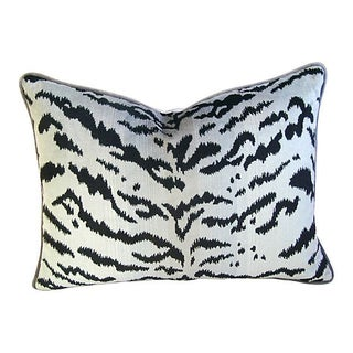 Silver & Black Scalamandre Le Tigre Pillow