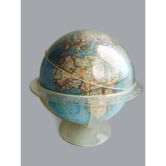 Vintage 1960s Tall Lucite Base World Globe - Image 5 of 7