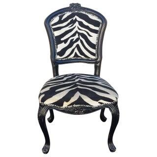 French Louis XV Style Black Zebra Chair