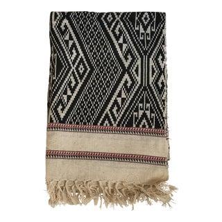 Black & White Woven Ikat Fringed Textile Throw Blanket