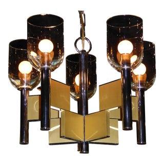 Gaetano Sciolari Chrome & Brass Chandelier
