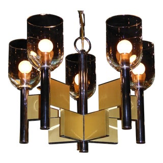 Gaetano Sciolari Chrome & Brass Chandelier