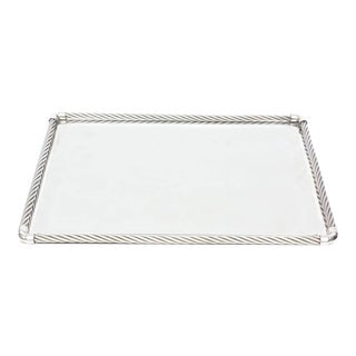 Signed Italian Gucci Silver- Plate Braided / Rope Tray