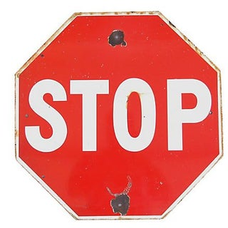Large 1940s Enameled Porcelain Stop Sign