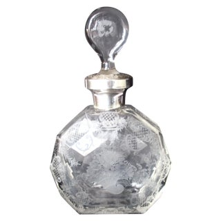 Antique Hand-Etched Glass & Silver Decanter