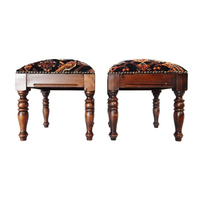 Antique Hamadan Rug Wood Stools - a Pair - Image 3 of 7