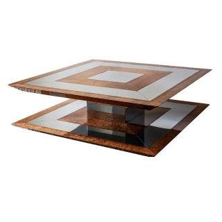 Chrome & Burlwood Coffee Table Attr. to Paul Evans