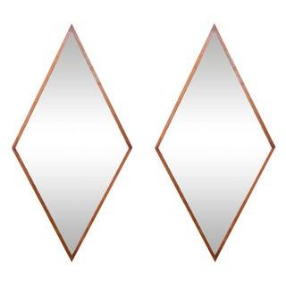 Walnut Diamond Frame Mirrors - a Pair