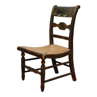 Early New England Decorated Childs Chair with Original Rush Seat