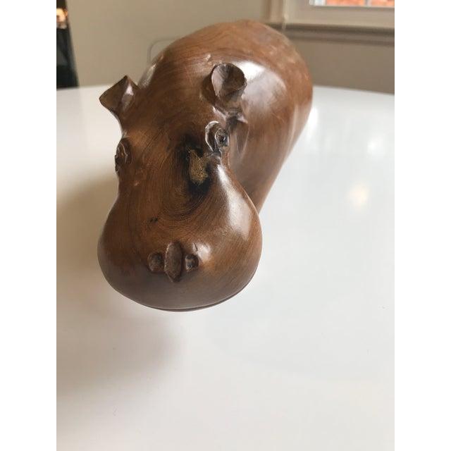 Vintage Carved Wood Hippo Sculpture - Image 5 of 6