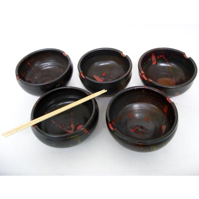 Japanese Ceramic Rice Bowls - Set of 5 - Image 3 of 7