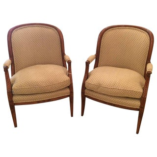 Classic Pair of French Walnut Tub Shaped Bergere Chairs