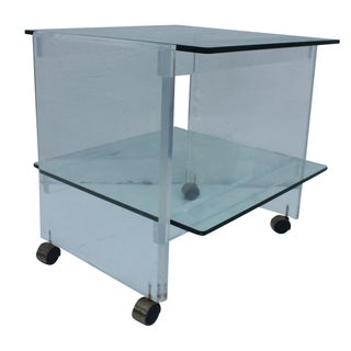 Vintage Lucite and Glass Two Tier Bar Cart or Side Table