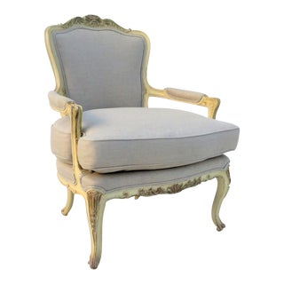 French Carved Open Arm Chair