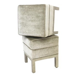 Upholstered Chrome Framed Ottomans - Pair