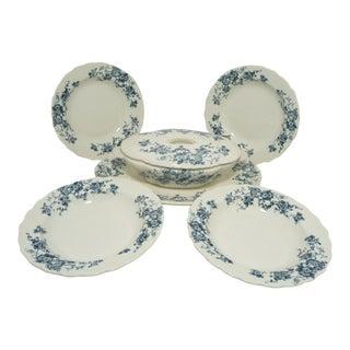 Antique Blue & Cream English Ironstone Serving Set -4 Bowls + Casserole +Platter